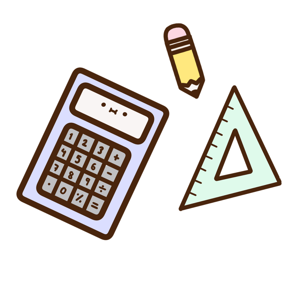 calculator, pencil, triangle